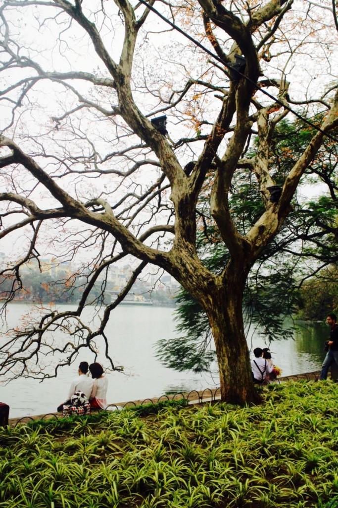 Pariskuntia järven rannalla Hanoissa