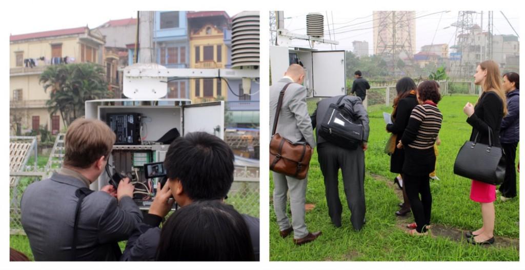Sami esittelemässä Ha Dongin sääaseman toimintaa kameroiden käydessä