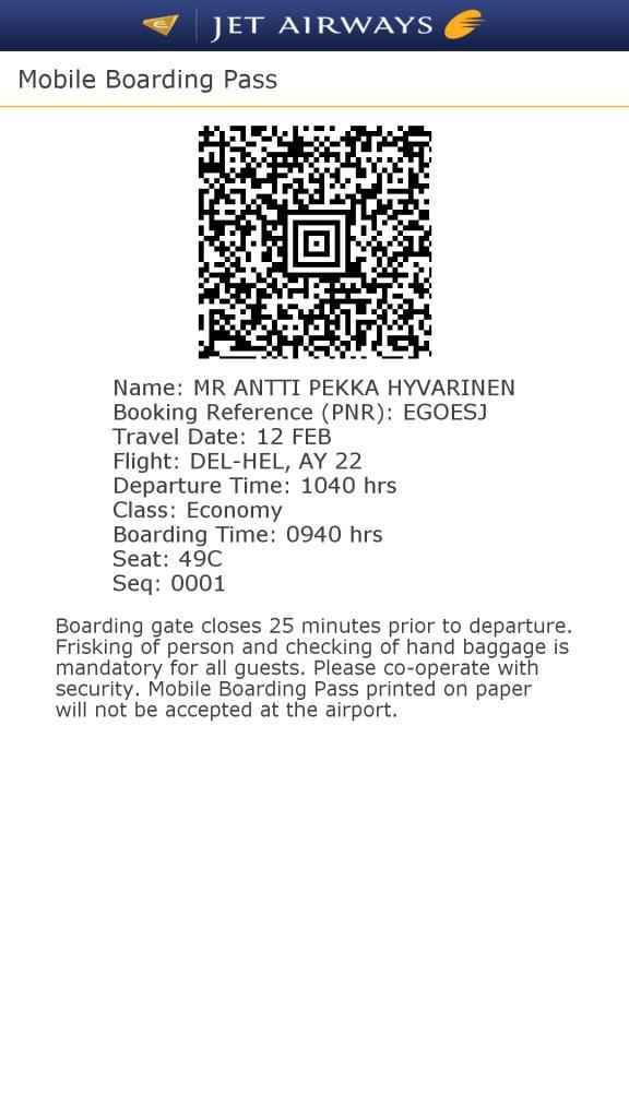 Boarding pass Delhin kentällä: ei näin.